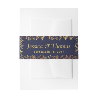 The Elegant Navy & Gold Floral Wedding Collection Invitation Belly Band