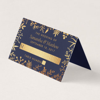 The Elegant Navy & Gold Floral Wedding Collection Place Card