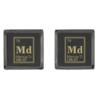The Element of You! Custom Name Gold Periodic Gunmetal Finish Cuff Links