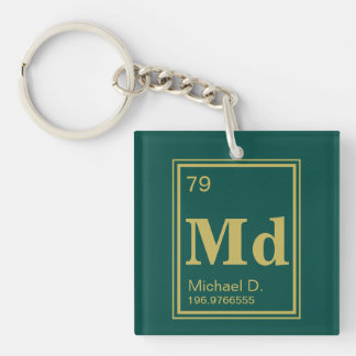 The Element of You! Custom Name Gold Periodic Single-Sided Square Acrylic Key Ring