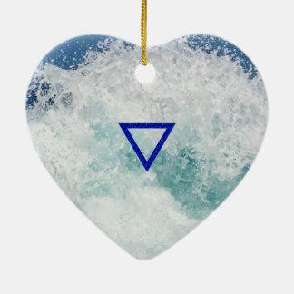 The Element Water Symbol Ceramic Heart Decoration