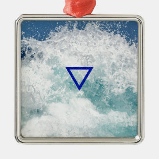 The Element Water Symbol Silver-Colored Square Decoration