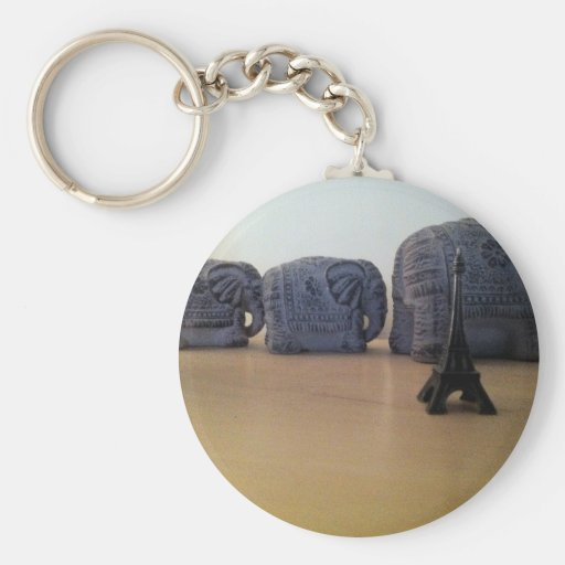 The elephant and tower eiffel key chains