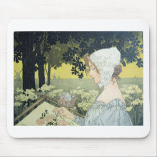 THE EMBROIDERER LA BRODEUSE MOUSEPAD