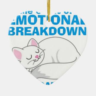 The Emotional Breakdown Cat Ceramic Heart Decoration