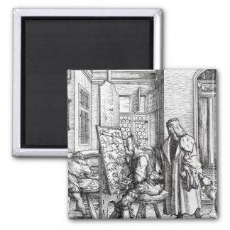 The Emperor in the Artist's Studio Square Magnet