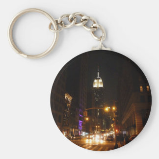 The Empire State Building at Night Basic Round Button Key Ring
