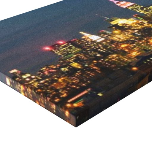 The Empire State Building at Night Panorama Stretched Canvas Print