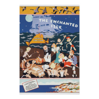 The Enchanted Isle Vintage Travel Poster Artwork