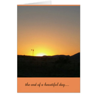 the end of a beautiful day greeting card