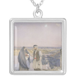 The End of the Day, 1888 Silver Plated Necklace