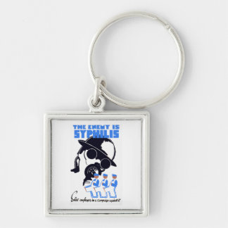 The Enemy Is Syphilis Silver-Colored Square Key Ring