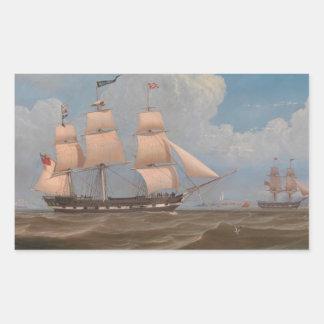 The English Merchant Ship Malabar - William Clark Rectangular Sticker