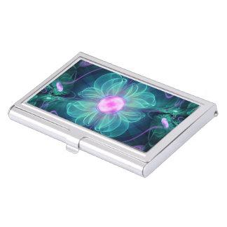 The Enigma Bloom, an Aqua-Violet Fractal Flower Business Card Holder