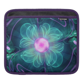 The Enigma Bloom, an Aqua-Violet Fractal Flower iPad Sleeve