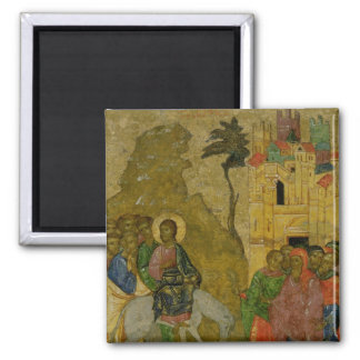 The Entry into Jerusalem, Russian icon Square Magnet