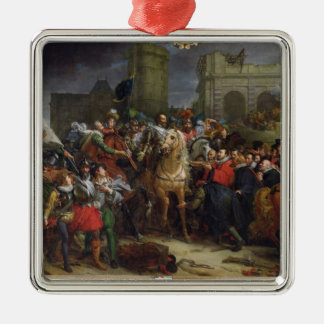 The Entry of Henri IV  into Paris Silver-Colored Square Decoration