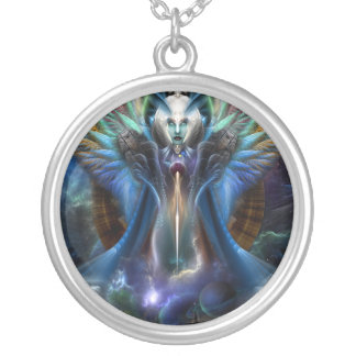 The Eternal Majesty Of Thera Fractal Portrait Silver Plated Necklace