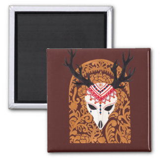 The Ethnic Deer Head Square Magnet