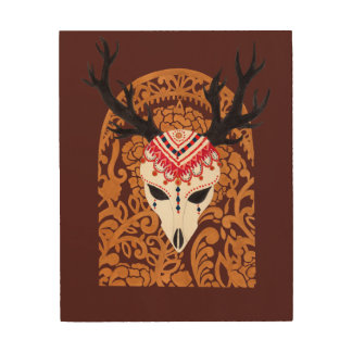 The Ethnic Deer Head Wood Canvases