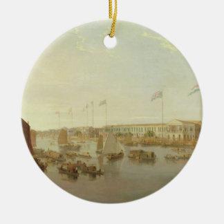 The European Factories Canton 1806 oil on canva Ornament