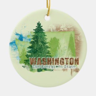 The Evergreen State Ceramic Ornament