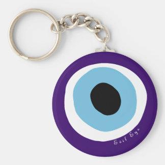 The evil eye basic round button key ring