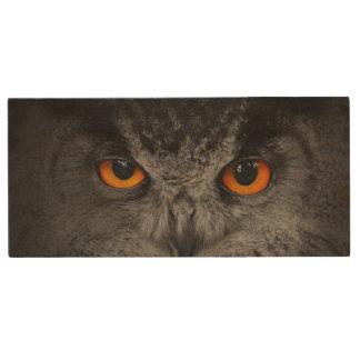 The Evil Eyes. ( Eagle Owl, Bubo Bubo) Wood USB 2.0 Flash Drive