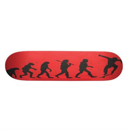 the evolution in red custom skate board