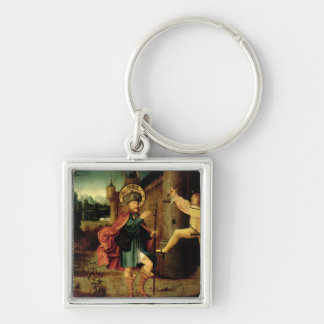 The Expulsion of Saint Roch from Rome Silver-Colored Square Key Ring