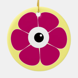 the eye of the pink flower ceramic ornament