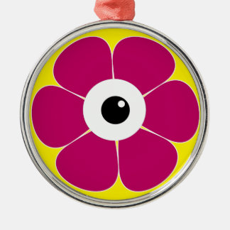 the eye of the pink flower metal ornament
