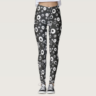 The 'eyes have it' black and white leggings