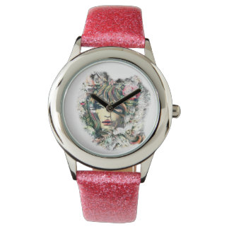 The Face Pink Glitter Watch