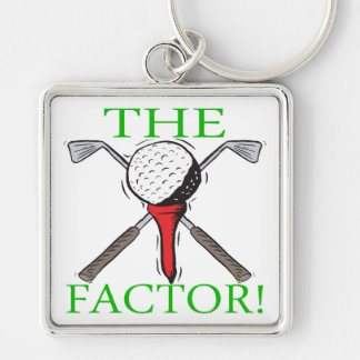 The Factor Silver-Colored Square Key Ring