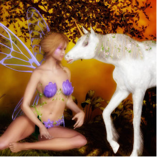 The Fairy and the Unicorn Standing Photo Sculpture