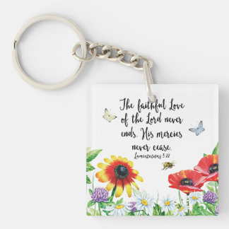 The Faithful Love of the Lord Never Ends Key Ring