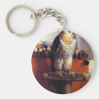 The Falcon by Edwin Henry Landseer Basic Round Button Key Ring