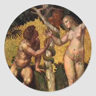 The Fall - Adam and Eve by Raphael or Raffaello Round Stickers