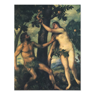 """The Fall of Man; Adam and Eve by Titian 4.25"""" X 5.5"""" Invitation Card"""