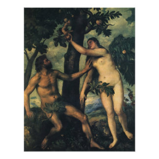 The Fall of Man; Adam and Eve by Titian Poster