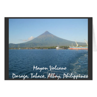 The Famous Mayon Volcano In Summertime Card