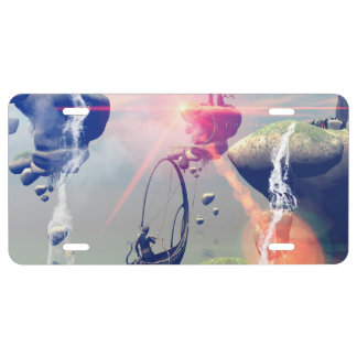 The fantasy world with flying rocks license plate