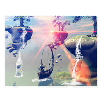 The fantasy world with flying rocks postcard