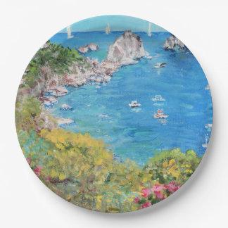 "The Faraglioni Rocks - Custom Paper Plates 9"""