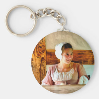 The Farm Girl Basic Round Button Key Ring