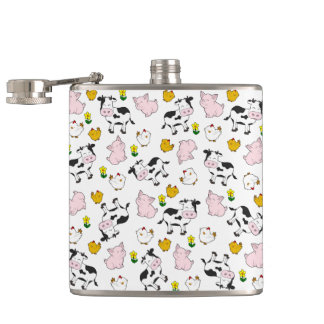The Farm Pattern Hip Flask