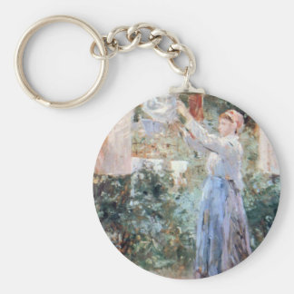 The farmer hanging laundry by Berthe Morisot Key Chains