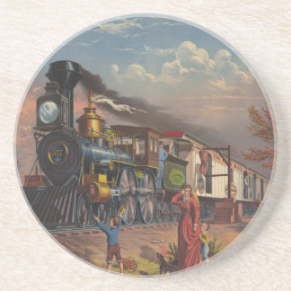The Fast Mail Postal Service Train From 1875 Beverage Coasters