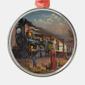 The Fast Mail Postal Service Train From 1875 Silver-Colored Round Decoration